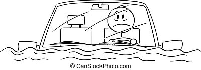 ベクトル, 人, 漫画, 運転, イラスト, 自動車, 水, 事故, モデル, 気絶させられた, ∥あるいは∥, 後で...