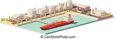 ベクトル, 低い, poly, オイル, ターミナル, そして, 石油タンカー, 船