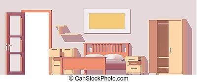 ベクトル, 低い, poly, 寝室