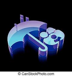 ベクトル, 作られた, 傘, illustration., 家族, ネオン, icon:, 白熱, 保護, ガラス, 3d