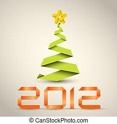 ベクトル, 作られた, 単純である, 木, ペーパー, 緑の縞, クリスマス