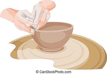 ベクトル, 作成, pottery., 手
