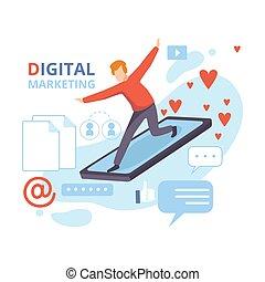 ベクトル, 作戦, 平ら, 管理, ビジネスマン, デジタル, 分析, マーケティング, イラスト, smartphone, ビジネス, 内容, 飛行