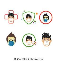 ベクトル, 使うこと, 汚染, 顔, 人, マスク