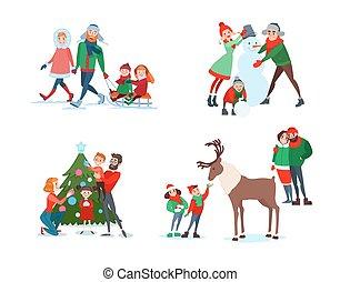 ベクトル, 供給, sledding., 家族, scenes., reindeer., イラスト, snowman., 木。, 息子, 子供, 親, 父, 母, 作成, 飾り付ける, クリスマス