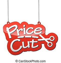 ベクトル, 価格, 切口, 赤い背景