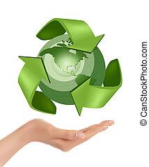 ベクトル, 保有物, 地球, 緑, 手