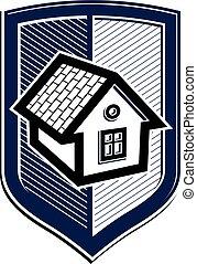 ベクトル, 保護, 単純である, heraldry., house., idea., 概念, 保護, デザイン, アイコン, 家の 構造, 要素, 保険
