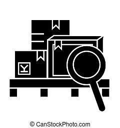 ベクトル, 倉庫, 背景, アイコン, 隔離された, 印, イラスト