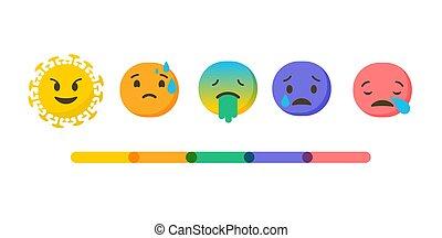 ベクトル, 健康, coronavirus, イラスト, スケール, -, 評価, emoji, アイコン, set., 感情, sick., 旗, 背景