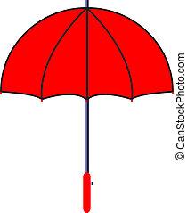 ベクトル, 傘, イラスト, 赤