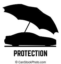 ベクトル, 傘, 自動車, 隔離された, ∥あるいは∥, シルエット, 保護, 背景, 白, 保険