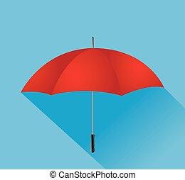 ベクトル, 傘, 赤, イラスト