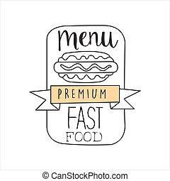 ベクトル, 優れた, 単純である, メニュー, フレーム, 犬, 速い, 印, 食物, 暑い, 通り, デザイン, イラスト, 手, 引かれる, 昇進, カフェ, 品質, リボン