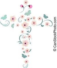 ベクトル, 優雅である, 交差点, 隔離された, キリスト教徒, ピンクの花, できる, 蝶