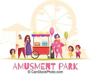ベクトル, 公園, 娯楽, イラスト