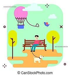 ベクトル, 公園, illustration., 娯楽