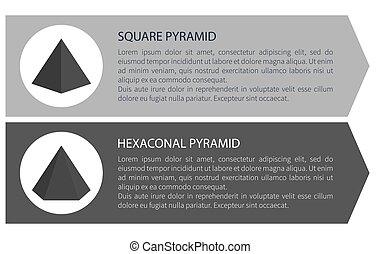 ベクトル, 六角形, 広場, ピラミッド, イラスト
