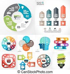 ベクトル, 円, infographic, セット