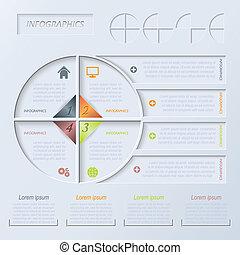 ベクトル, 円, infographic, デザイン, テンプレート