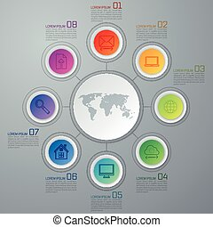 ベクトル, 円, infographic, 要素