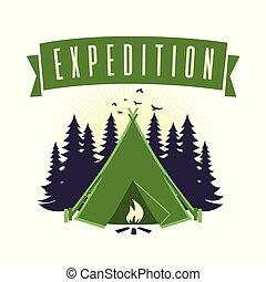 ベクトル, 冒険, キャンプファイヤー, キャンプ, 遠征隊, ロゴ, テンプレート, 山