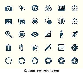 ベクトル, 写真撮影, 関係した, カメラ, デジタル, セット, アイコン