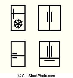 ベクトル, 冷蔵庫, イラスト, セット, icon-, 黒