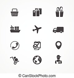 ベクトル, 出荷, ロジスティクス, そして, 貨物, アイコン, セット