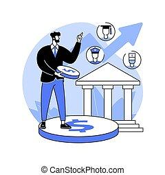 ベクトル, 出費, illustration., 政府, 抽象的な 概念