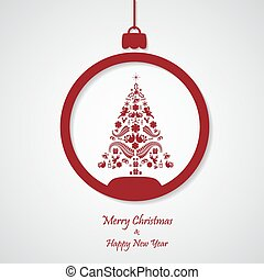 ベクトル, 切口, 木。, ペーパー, 背景, クリスマス, 赤, design.