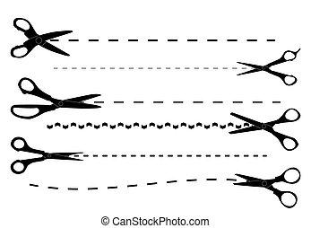 ベクトル, 切断, セット, scissors., illustration.
