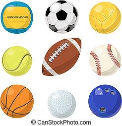 ベクトル, 別, ボール, equipment., コレクション, 漫画, セット, スポーツ, style.