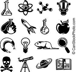 ベクトル, 化学, セット, 黒, アイコン