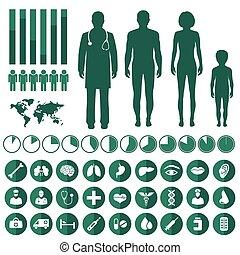 ベクトル, 医学, infographic