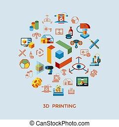 ベクトル, 印刷, 技術, デジタル, 3d