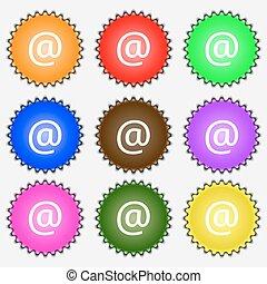 ベクトル, 印。, アイコン, 電子メール, セット, 有色人種, 別, labels., 9