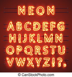 ベクトル, 印。, アルファベット, text., ランプ, イラスト, ネオン, 壷