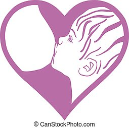 ベクトル, 印。, 胸, 連合, breastfeeding, 供給