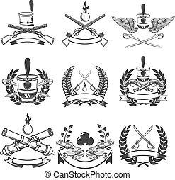 ベクトル, 印。, emblems., cannons., 古代, 紋章, 要素, 武器, セット, マスケット銃, ラベル, ロゴ, サーベル, デザイン, イラスト