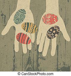 ベクトル, 卵, eps10, hands., イースター