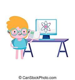 ベクトル, 原子, 男の子, 本, 子供, 机, コンピュータ, デザイン