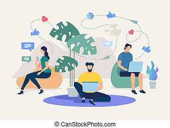 ベクトル, 友人, ネットワーク, 談笑する, 社会