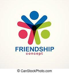 ベクトル, 友情, 概念, ビジネス, カラフルである, 人々, 単純である, 夢, 共同, 作成される, 考え,...