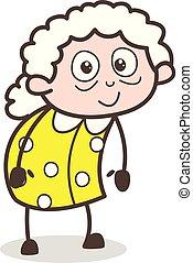 ベクトル, 古い, かわいい, 漫画, イラスト, おばあさん, 特徴