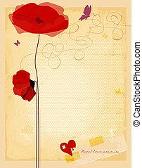 ベクトル, 古い, カード, 型, 手ざわり, ペーパー, イラスト, 愛, 花