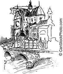 ベクトル, 古い 都市, イラスト