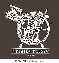 ベクトル, 古い, illustration., 凸版印刷, 型, プラテン, 機械, 印刷機, ロゴ, design.