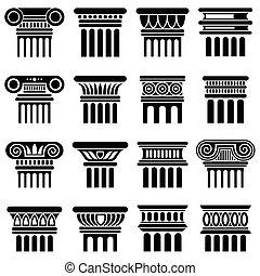 ベクトル, 古代, アイコン, コラム, ローマ, 建築