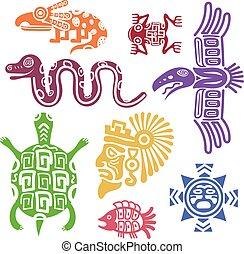ベクトル, 古代, メキシコ人, illustration., 文化, mayan, トーテム, シンボル, パターン, indian